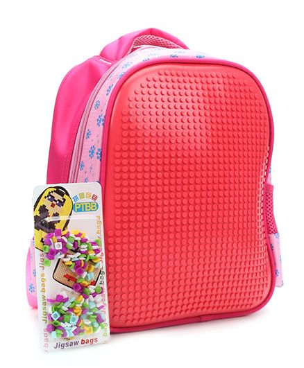 The Eed Flower Print Design School Red Bag - 11.5 Inches