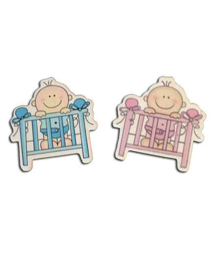 Planet Jashn Baby With Cradle Stick Ons Blue Pink - 1 Inch