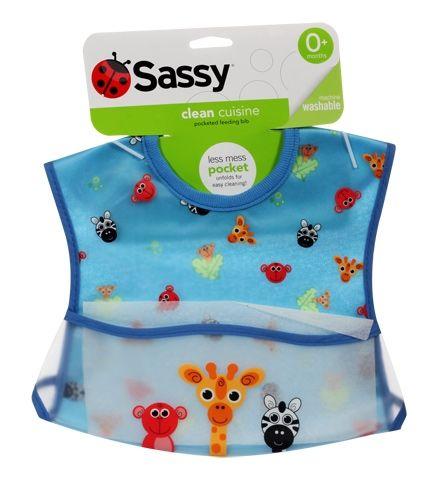 Sassy Pocket Feeding Bib Blue