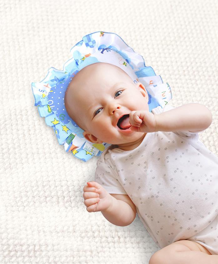 Babyhug Jumbo Semi Circular Pillow Teddy Print - Blue