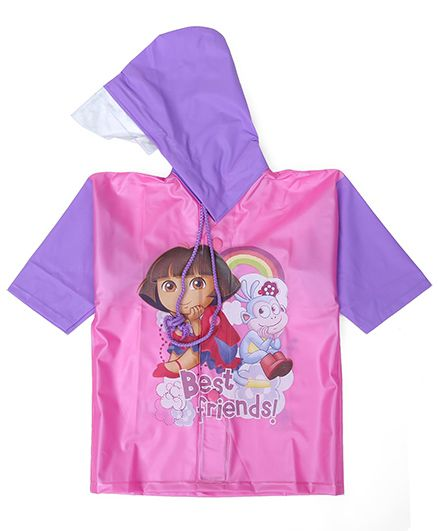 Dora Hooded Raincoat Best Friend Print - Pink And Purple