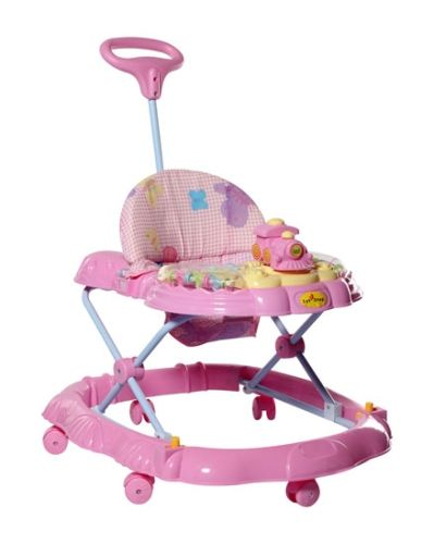 1st Step Musical Baby Walker With Push Handle - Pink