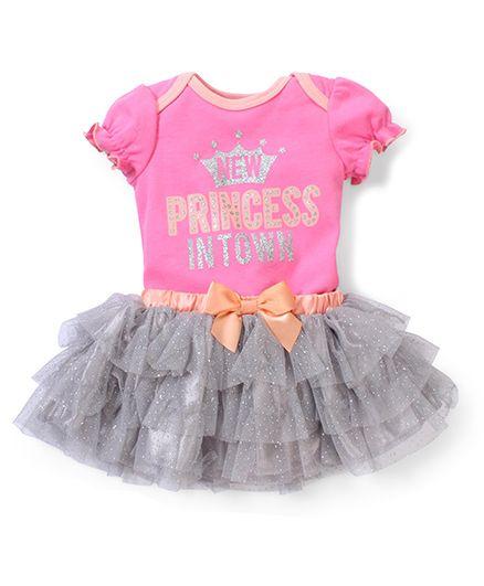 Freshly Squeezed 2 Piece Romper & Skirt Set - Pink & Grey