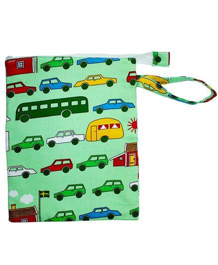 Kadambaby Traffic Print Waterproof Nappy Bag - Green