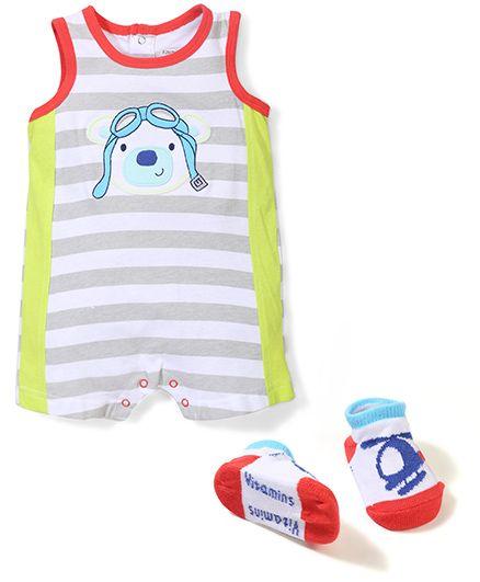 Vitamins Baby Cartoon Print Bodysuit & Socks Set - Multicolor