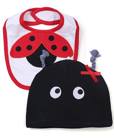 Lovespun Ladybug Print Bib with Hat - Red & Black