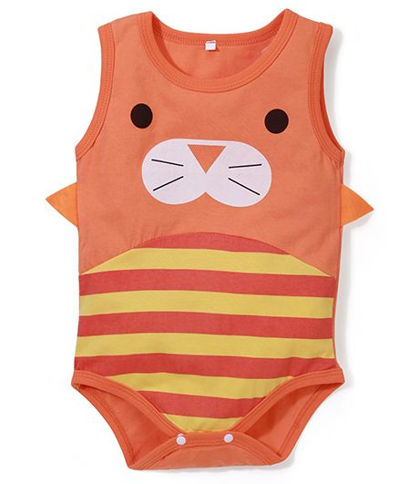 Superfie Cat Print Onesie - Orange