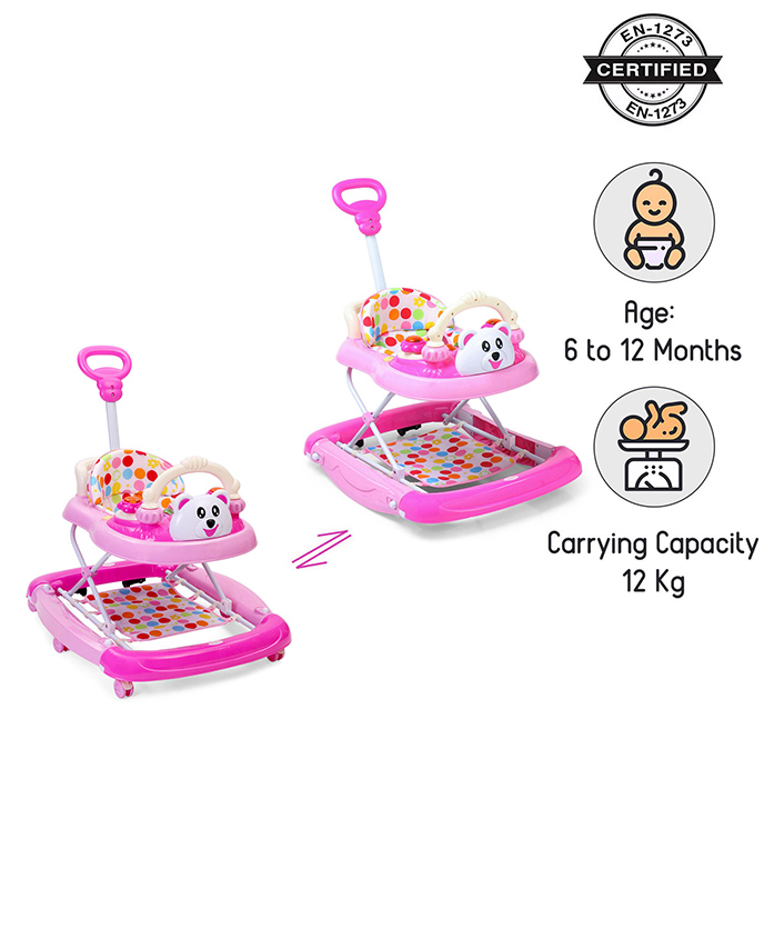 Babyhug Mini Steps Baby Walker - Pink & Cream