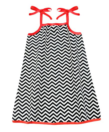A.T.U.N. Sarah Dress Chevron Print - Black & Red