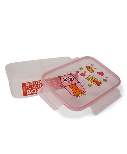 Sugar Booger Owl Print Lunch Box - Pink & White