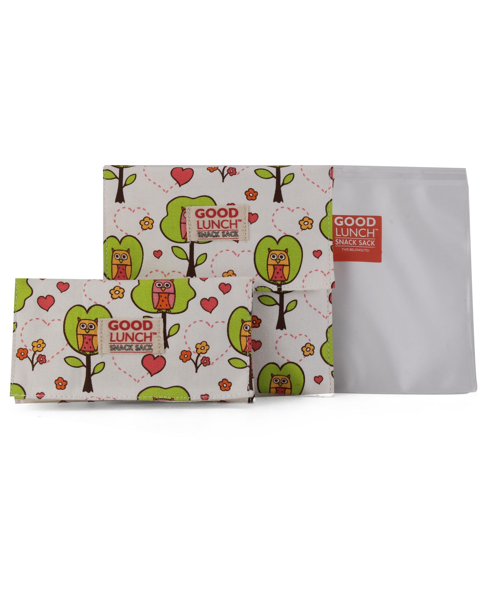 Sugar Booger Owl Print Lunch Snack Sacks - White