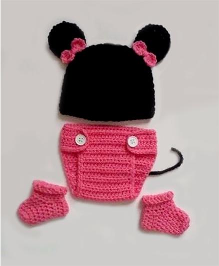 The Original Knit Mouse Crochet Photo Prop - Pink & Black