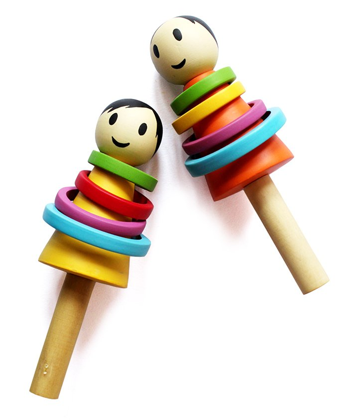 Shumee Wooden Baby Rattle Multicolour - 15 cm