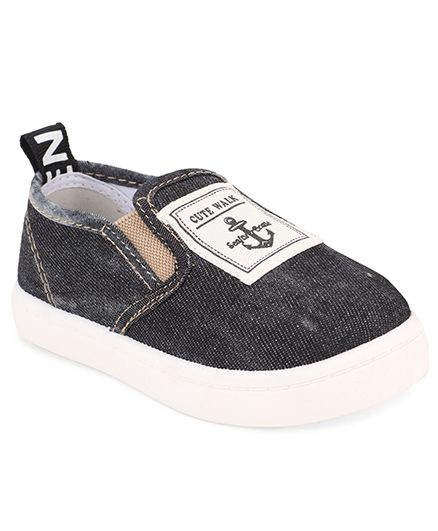 Cute Walk by Babyhug Slip-On Shoes Anchor Patch - Black
