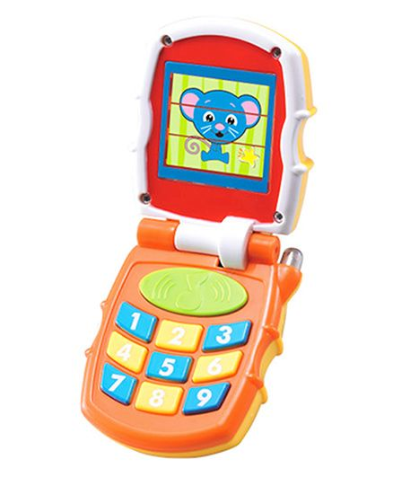 Huile Toys Musical Mobile Phone With Light And Sound - Orange