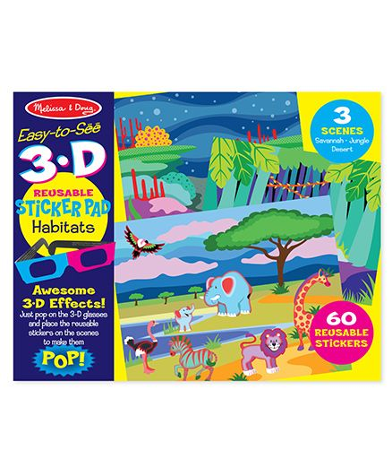 Melissa And Doug 3D Coloring Book Habitats - Multicolor