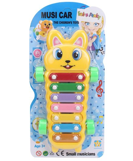 Teddy Bear Musical Car Xylophone Toy - Yellow
