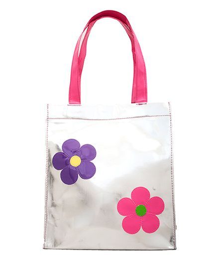 Lill Pumpkins Flower Print Tote Bag - Silver