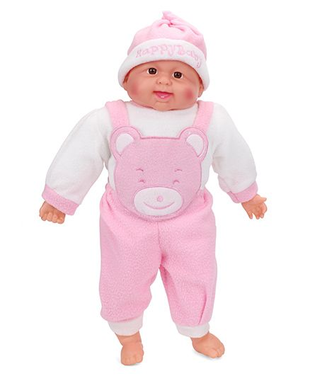 Smiles Creation Laughing Doll Bear Print Pink - Height 49 cm