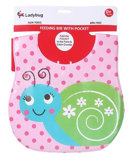 Labybug Bib Snail Print - Pink