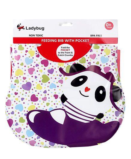 Ladybug Feeding Bib Panda Design - White