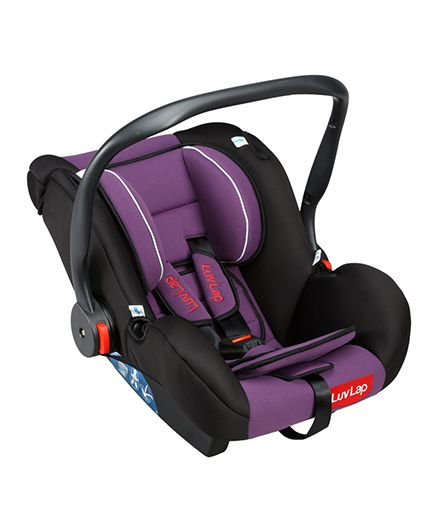 LuvLap Infant Baby Car Seat Cum Carry Cot With Rocker And Canopy - Purple