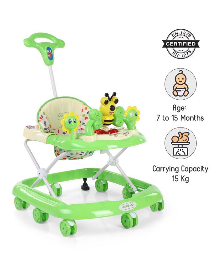 Babyhug Honey Bee Musical Baby Walker - Green