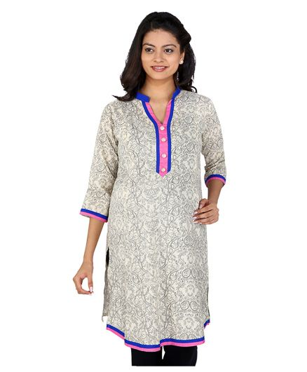 MomToBe Three Fourth Sleeves Maternity Kurti Abstract Print - White