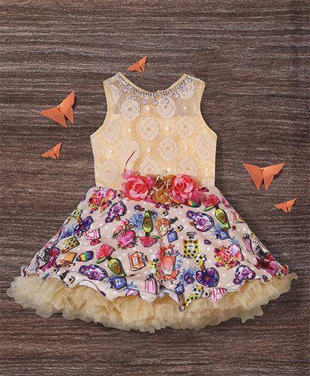 M'Princess Flower Applique Dress - Multicolour