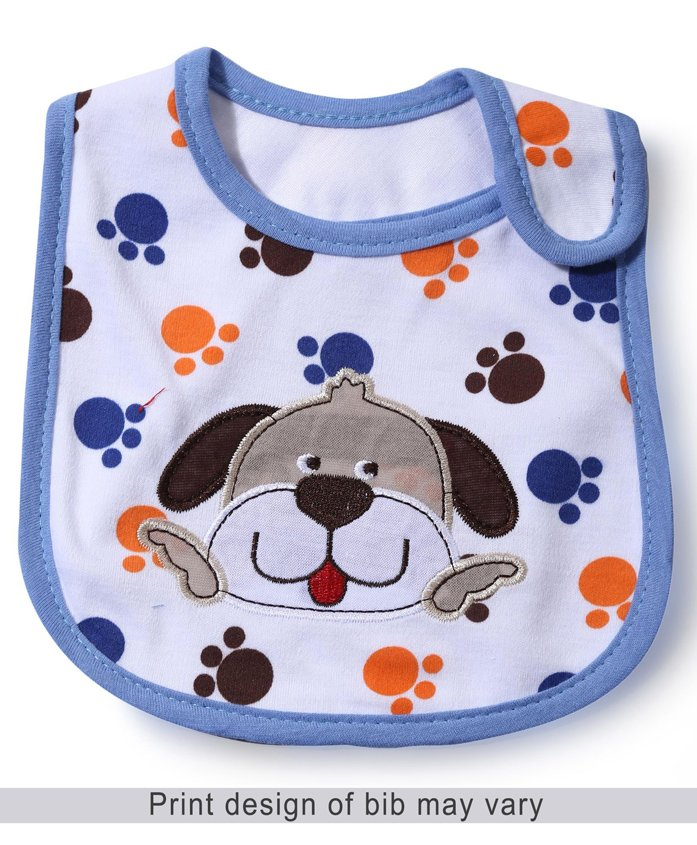 Babyhug Bib Puppy Face Embroidery - White And Blue