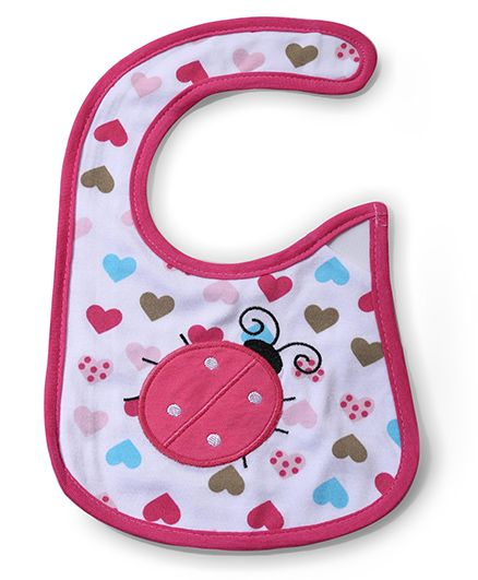 Babyhug Bib Heart Print - White And Pink