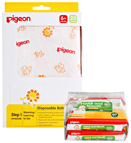Pigeon Hand & Mouth Baby Wipes, 60 Pieces
