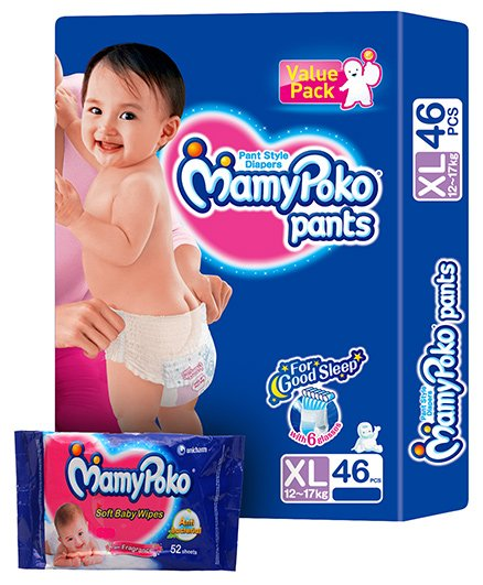 Mamy Poko Pants Pant Style Diapers Size Xl (12 - 17 Kg)  46 Diapers With Mamy Poko Baby Wipes 52 Pieces Combo (set Of 2)