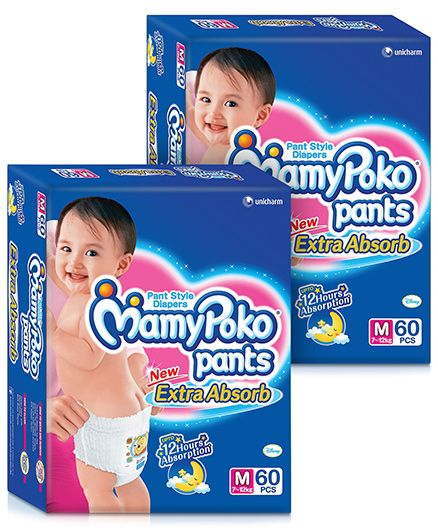 Mamy Poko Extra Absorb Pant Style Diaper, M 60 Pieces (Pack Of 2)