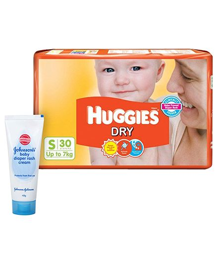 Huggies Dry Diapers Small 30 Pieces AND Johnsons baby Diaper Rash Cream 40 gram . Pack of 2