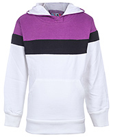 White Hooded Sweat Jacket With Purple And Black Pattern
