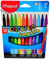 Maped  -  Color Peps Long Life Felt Pens Pack of 12 pens, For beautiful drawings