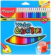 Maped  -  Water Color Peps with Brush 24 color pencils to give your drawings a water color...