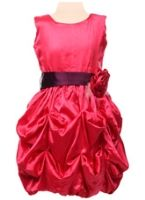Bambini - Party Wear Gown With Gathers And Satin Rose