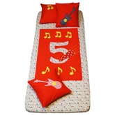 Musical Five Bedspread Colourful bedsheet and pillow cover set