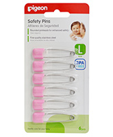 Pigeon - Safety Pins L Size, Set Of 6, Safe Secure Clips, Fine Quality St...