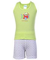 Buy Tango Sleeveless T-Shirt And Shorts Green - Aeronauts Print