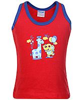 Buy Tango Sleeveless Vest with Animals Print - Red