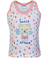 Buy Tango Sleeveless Vest Bear with Snack Attack Print - Peach