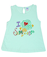 Buy Tango Sleeveless Frock with I Love Summer Print - Green