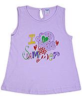 Buy Tango Sleeveless Frock with I Love Summer Print - Purple