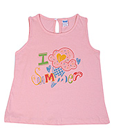 Buy Tango Sleeveless Frock with I Love Summer Print - Light Pink