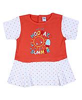 Buy Tango Short Sleeves Frock with Hooray Summer Print - Orange