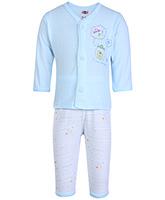 Buy Zero Full Sleeves Printed Vest And Pant - Blue