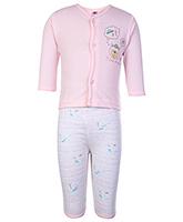 Buy Zero Full Sleeves Printed Vest And Pant - Peach